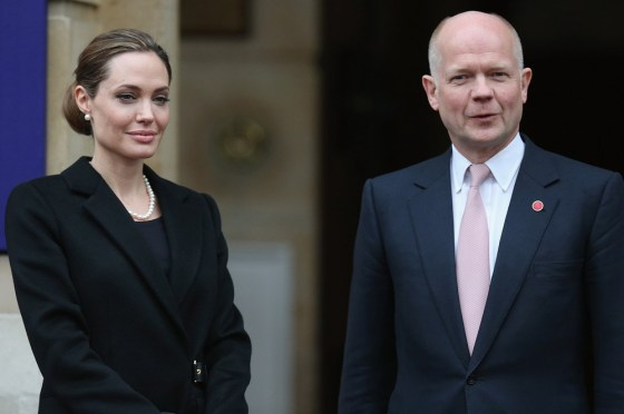 Jolie and Hague at the G8 in London